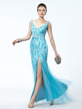 Captivating Split Front Beading V Neck Slender Sash Floor Length Evening Dress
