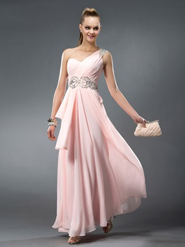 Enchanting Crystal One Shoulder Floor Length Beading Ruffles A Line Prom Dress