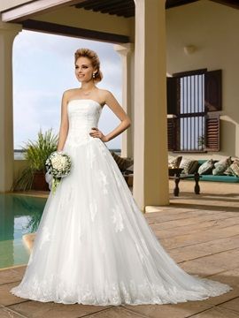 A Line Lace Court Train Strapless Wedding Dress