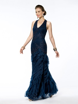 Trumpet Mermaid Floor Length Halter Appliques Zipper Up Evening Dress