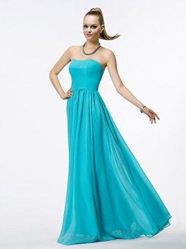 Cheap Ruched A Line Strapless Zipper Up Simple Chiffon Floor Length Prom Dress