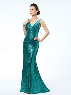 Brilliant Sequins Trumpet V Neck Straps Sweep Train Floor Length Evening Dress
