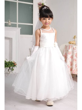 Simple A Line Flower Scoop Ankle Length Flower Girl Dress