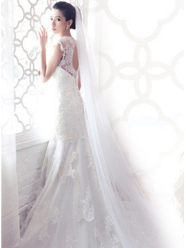 Simple Cathedral Length White Net Wedding Veil