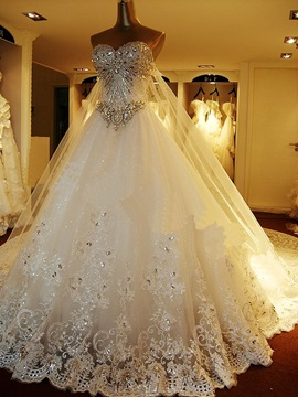 Luxury Rhinestone Beaded Sweetheart Watteau Train A Line Wedding Dress