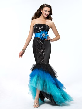 Luxurious Mermaid Stapless Sequins Asymmetry Flower Evening Dress Designed