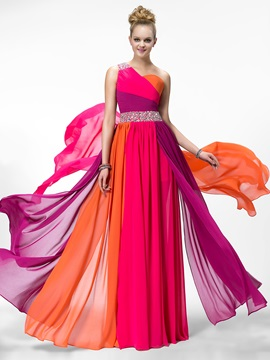 Colourful One Shoulder Beading Ruched Long Prom Dress Designed