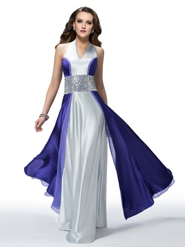 Noble Halter Beading A Line Zipper Up Floor Length Evening Dress Designed