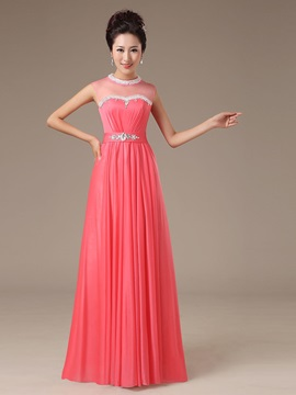 A Line High Neck Floor Length Sashes Bridesmaid Dress