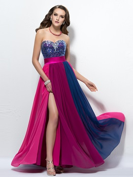 Shinning Sweetheart Split Front Beading Sequins Long Prom Dress