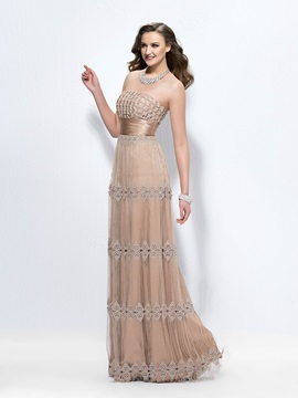 Classical A Line Strapless Tassel Lace Zipper Up Floor Length Evening Dress Designed