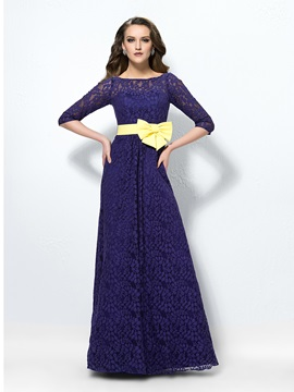 Spectacular Half Sleeves Bateau Lace Bowknot Long Evening Dress Designed