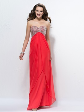 Sparkling Beading Strapless Sweetheart A Line Floor Length Up Prom Dress