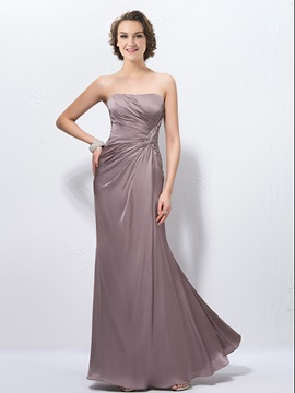 Sheath Strapless Zipper Up Pleats Sequins Beading Floor Length Evening Dress