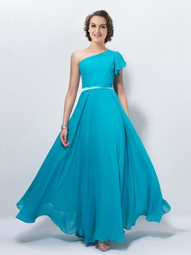 New A Line One Shoulder Cap Sleeve Floor Length Bridesmaid Dress