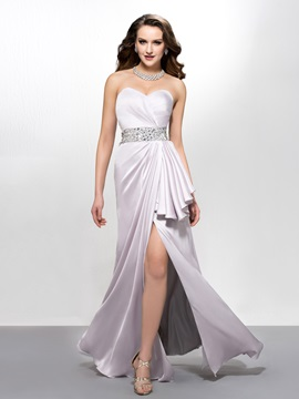 Captivating Sweetheart Split Front Droped Beading Floor Length Evening Dress Designed