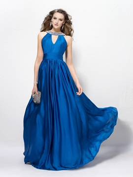 Alluring Sequins Beading A Line Jewel Neck Floor Length Evening Dress