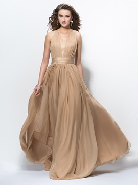 High Quality Halter Pleats V Neck A Line Long Evening Dress Designed