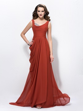 Spectacular Straps Beading Draped Sweep Brush Train Floor Length Evening Dress