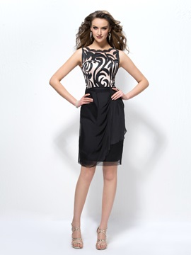 Fashion Office Lady Pattern Straps Sheath Column Short Formal Dress