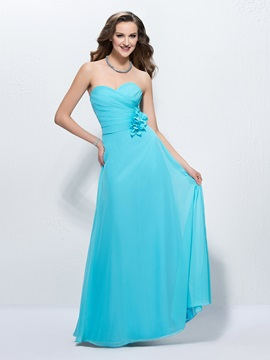 Comfortable Sweetheart Flowers A Line Up Floor Length Prom Dress