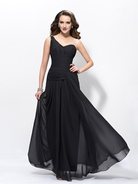 Elegant A Line Sequins Beading One Shoulder Floor Length A Line Ruched Evening Dress