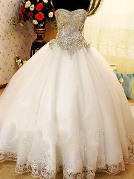 Luxurious Floor Length A Line Lace Crystal V Neckline Wedding Dress