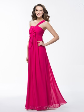 Enchanting One Shoulder Ruffles A Line Zipper Up Floor Length Bridesmaid Dress