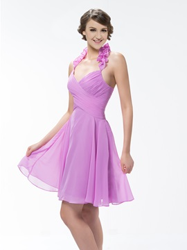 Pure Color Knee Length Ruched Halter A Line Bridesmaid Homecoming Dress