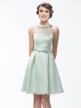 A Line Short Zipper Up Scoop Neck Bridesmaid Dress