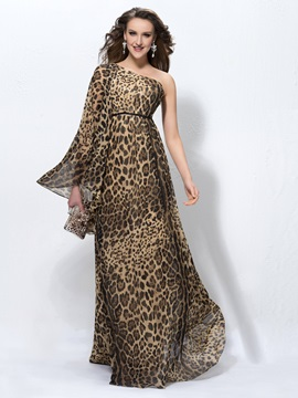 Timeless Leopard Print One Shoulder Long Sleeve Sweep Train Evening Dress Designed