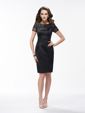 Classic Sheath Knee Length Bateau Appliques Short Sleeves Formal Dress