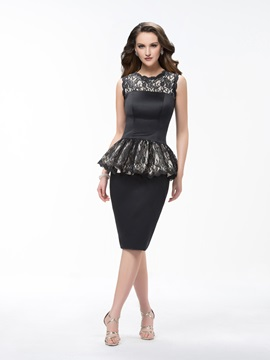 Sheath Knee Length Scoop Lace Ruffles Sleeveless Zipper Up Formal Dress