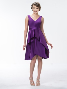 Pretty Ruffles V Neck Knee Length Up Bridesmaid Dress