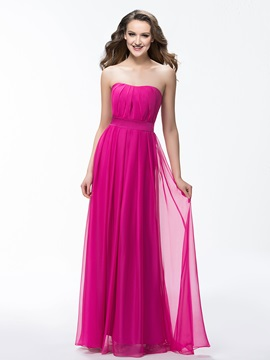 Simple Strapless A Line Ruched Zipper Up Long Bridesmaid Dress