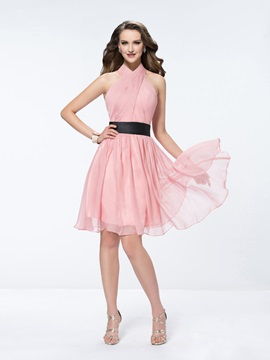 Knee Length A Line With Belt Ruffles Halter Bridesmaid Dress