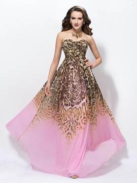 Attractive A Line Floor Length Sweetheart Leopard Print Sleeveless Prom Dress Designed