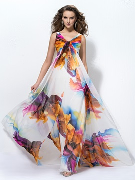 Colorful A Line V Neck Print Evening Dress Designed