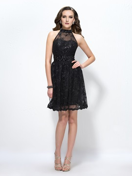 Stunning High Neck Lace Beading Knee Length Cocktail Dress Designed