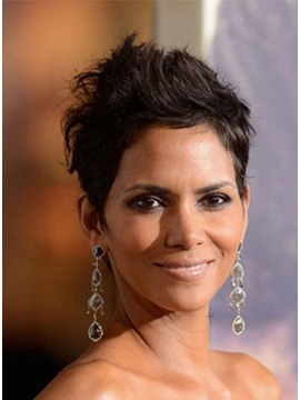Custom Halle Berry Haircut Short Curly 100 Human Hair Mono Top Wigs