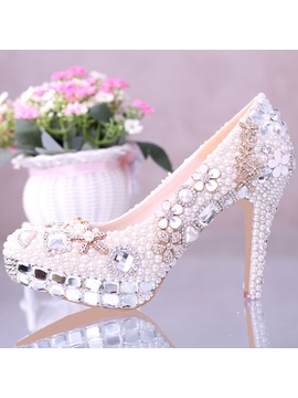 Aestheticism Closed Toe Rhinestone Stiletto Heel Wedding Shoes