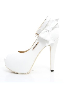 Fashionable Peep Toe Lovely Bowtie High Heel White Pu Wedding Bride Shoes