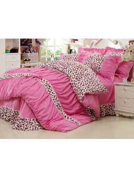 New Popular Pink Leopard Pattern 100 Cotton 4 Piece Teen Bedding Sets