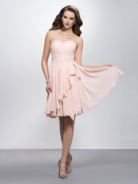 Simple Sweetheart Pleats Zipper Up Knee Length A Line Homecoming Dress