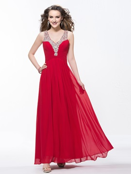 Charming V Neck Sequins Ruched Beading A Line Floor Length Prom Dress