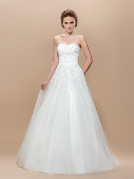 A Line Appliques Sequins Floor Length Wedding Dress
