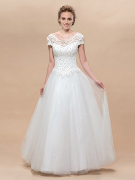 Enchanting A Line Short Sleeves Scoop Lace Floor Lengeh Wedding Dress