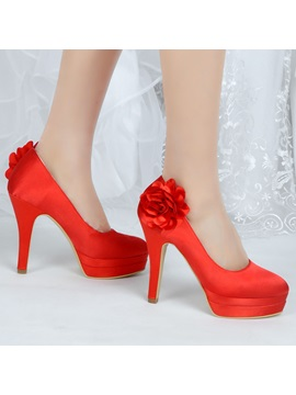 Flowers Satin Closed Toe Stiletto Heel Wedding Shoes