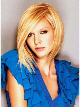 Custom Latest Bob With Edgy Bangs Haircut Blonde Color Synthetic Hair Wig About 12 Inches