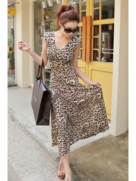 Gorgeous Leopard Print Sleeveless Maxi Dress